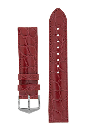 Hirsch Crocograin Crocodile-Embossed Leather Watch Strap in Burgundy (with Polished Silver Steel H-Standard Buckle)