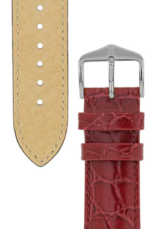 Hirsch Crocograin Crocodile-Embossed Leather Watch Strap in Burgundy (Tapers & Buckle)