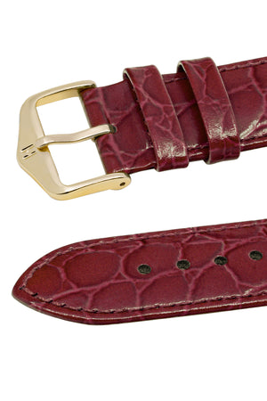 Hirsch Crocograin Crocodile-Embossed Leather Watch Strap in Burgundy (Keepers)