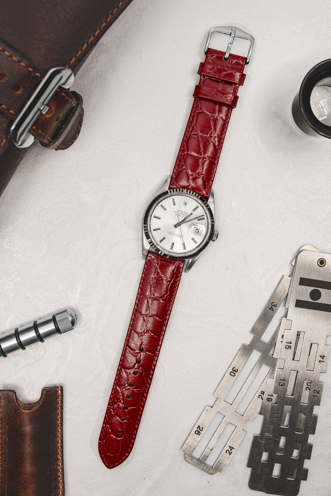 Hirsch Crocograin Crocodile-Embossed Leather Watch Strap in Burgundy (Promo Photo)