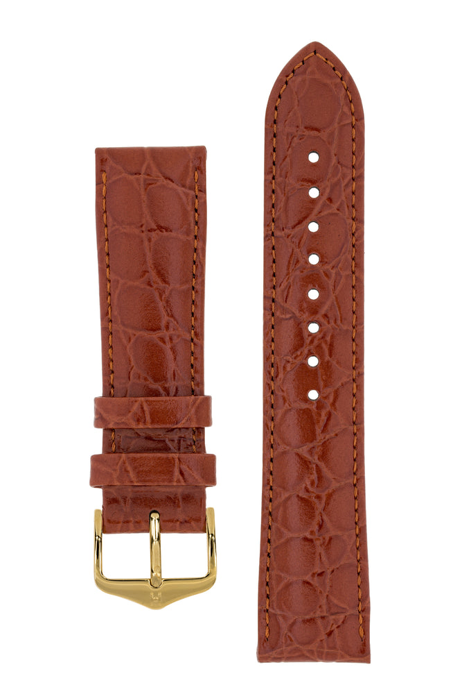 Hirsch Crocograin Crocodile-Embossed Leather Watch Strap in Gold Brown (with Polished Gold Steel H-Standard Buckle)