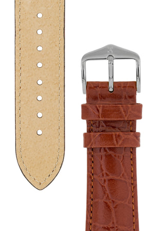 Hirsch Crocograin Crocodile-Embossed Leather Watch Strap in Gold Brown (Tapers & Buckle)