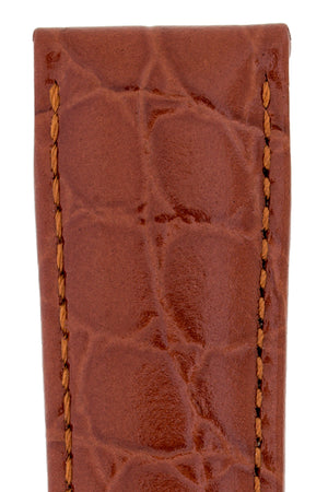 Hirsch Crocograin Crocodile-Embossed Leather Watch Strap in Gold Brown (Texture Detail)