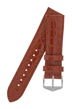 Hirsch Crocograin Crocodile-Embossed Leather Watch Strap in Gold Brown