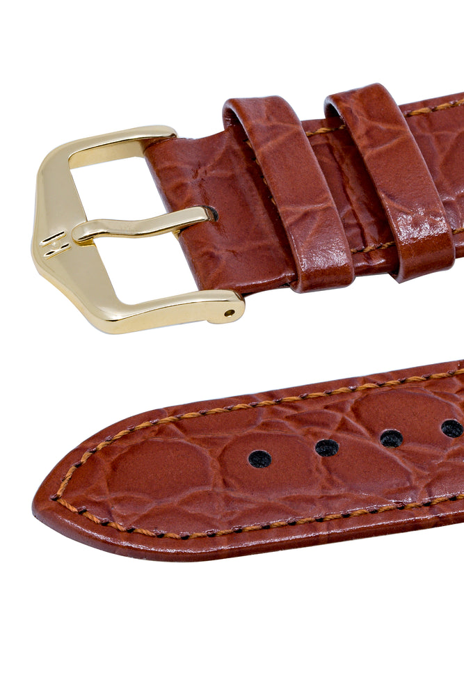 Hirsch Crocograin Crocodile-Embossed Leather Watch Strap in Gold Brown (Keepers)