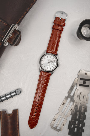 Hirsch Crocograin Crocodile-Embossed Leather Watch Strap in Gold Brown (Promo Photo)