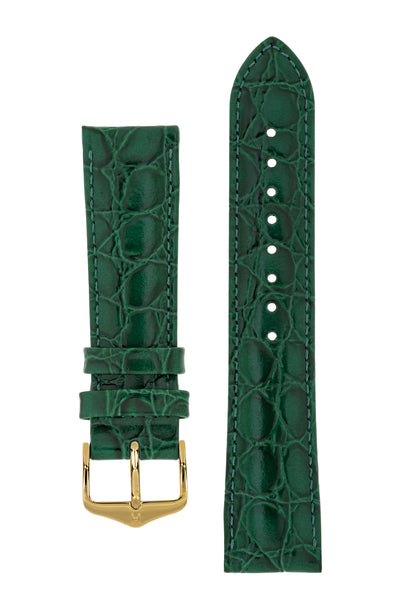 Hirsch Crocograin Crocodile-Embossed Leather Watch Strap in Green (with Polished Gold Steel H-Standard Buckle)