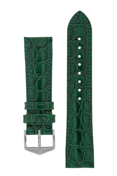 Hirsch Crocograin Crocodile-Embossed Leather Watch Strap in Green (with Polished Silver Steel H-Standard Buckle)