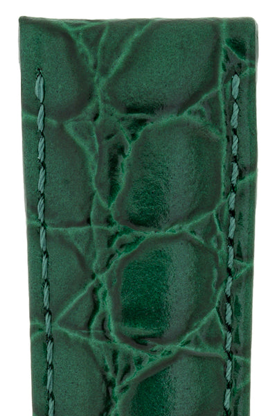 Hirsch Crocograin Crocodile-Embossed Leather Watch Strap in Green (Texture Detail)
