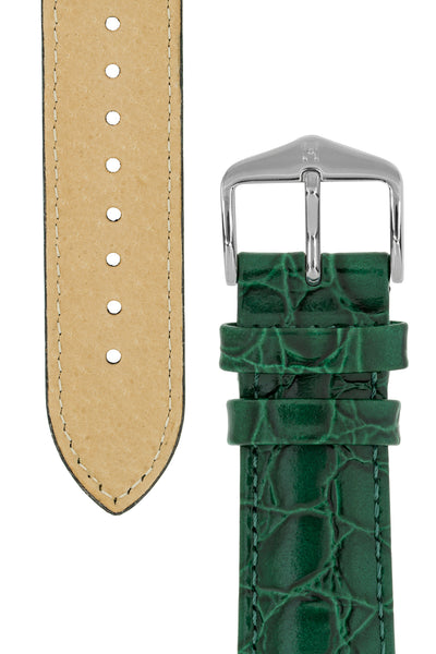 Hirsch Crocograin Crocodile-Embossed Leather Watch Strap in Green (Tapers & Buckles)