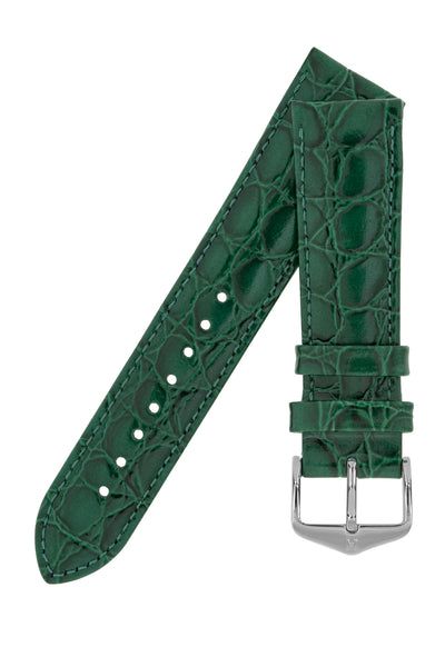 Hirsch Crocograin Crocodile-Embossed Leather Watch Strap in Green