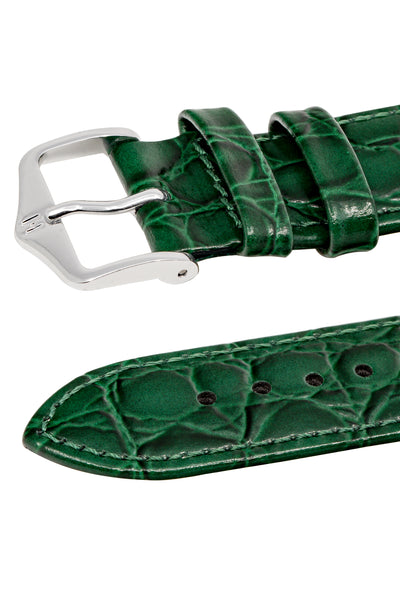 Hirsch Crocograin Crocodile-Embossed Leather Watch Strap in Green (Keepers)