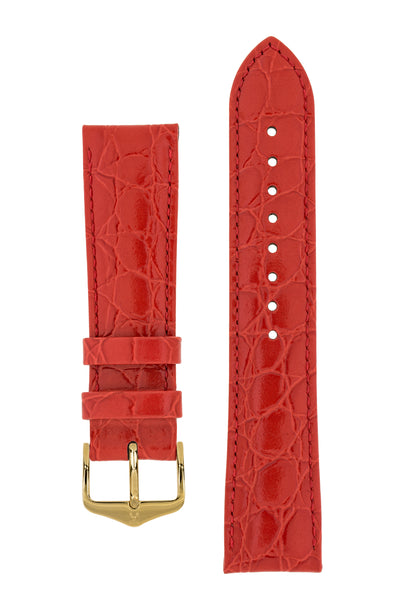 Hirsch Crocograin Crocodile-Embossed Leather Watch Strap in Red (with Polished Gold Steel H-Standard Buckle)