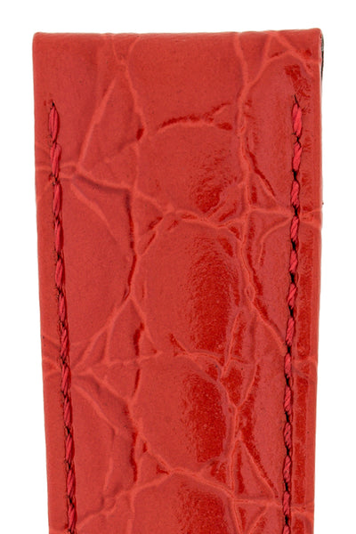 Hirsch Crocograin Crocodile-Embossed Leather Watch Strap in Red (Texture Detail)
