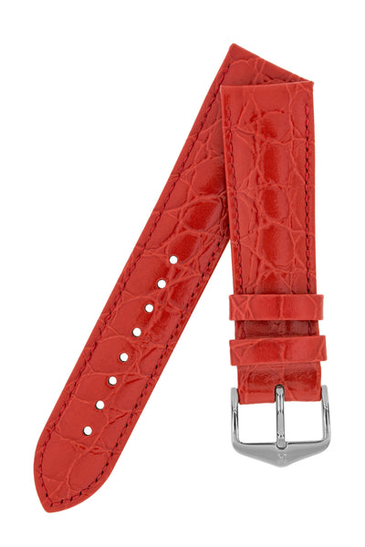 Hirsch Crocograin Crocodile-Embossed Leather Watch Strap in Red