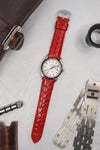 Hirsch CROCOGRAIN Crocodile Embossed Leather Watch Strap in RED