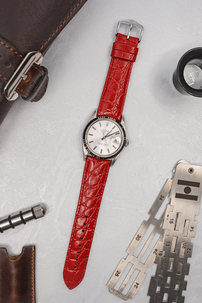 Hirsch Crocograin Crocodile-Embossed Leather Watch Strap in Red (Promo Photo)