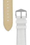 Hirsch CROCOGRAIN Crocodile Embossed Leather Watch Strap in WHITE