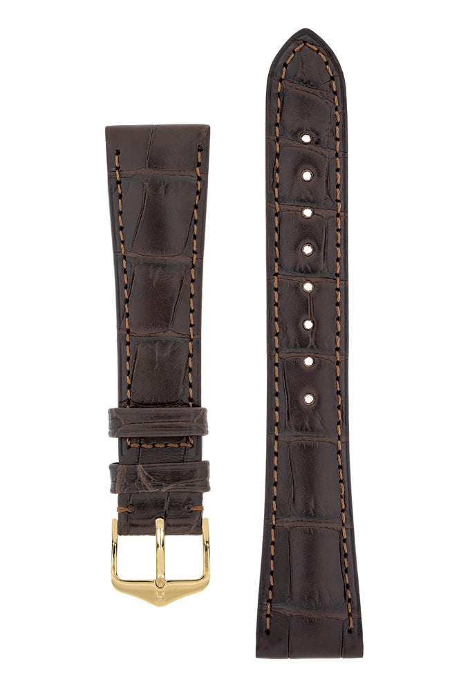 Load image into Gallery viewer, Hirsch London Genuine Matt Alligator Leather Watch Strap in Dark Brown (with Polished Gold Steel H-Tradition Buckle)