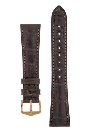 Load image into Gallery viewer, Hirsch London Genuine Matt Alligator Leather Watch Strap in Dark Brown (with Polished Rose Gold Steel H-Tradition Buckle)