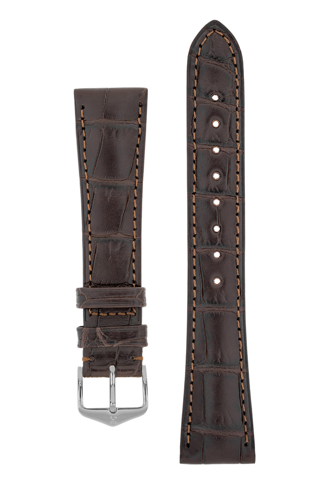 Load image into Gallery viewer, Hirsch London Genuine Matt Alligator Leather Watch Strap in Dark Brown (with Polished Silver Steel H-Tradition Buckle)