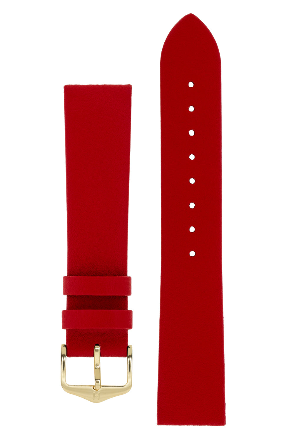 Hirsch DIAMOND CALF Leather Watch Strap in RED