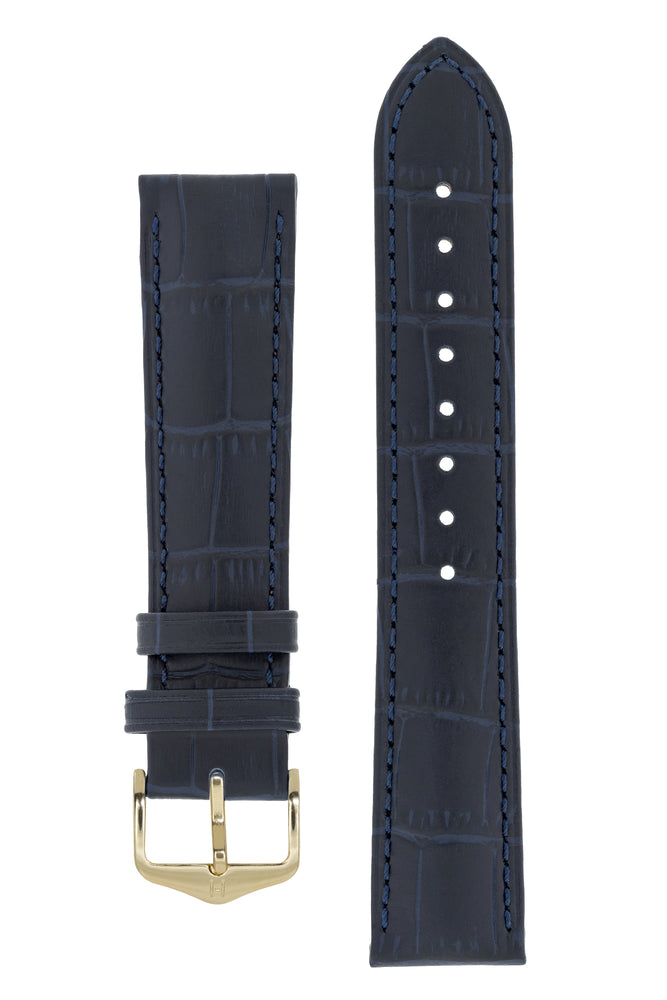 Hirsch Duke Alligator-Embossed Leather Watch Strap in Dark Blue (with Polished Gold Steel H-Standard Buckle)