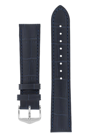Hirsch Duke Alligator-Embossed Leather Watch Strap in Dark Blue (with Polished Silver Steel H-Standard Buckle)