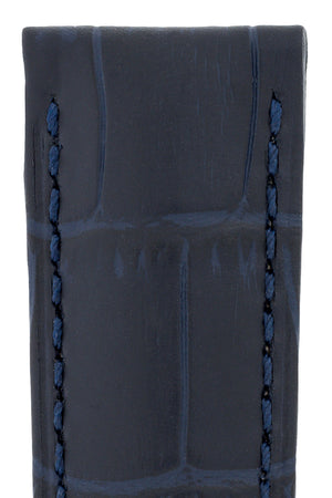 Hirsch Duke Alligator-Embossed Leather Watch Strap in Dark Blue (Texture Detail)