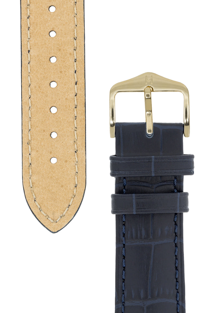 Hirsch Duke Alligator-Embossed Leather Watch Strap in Dark Blue (Tapers & Buckle)