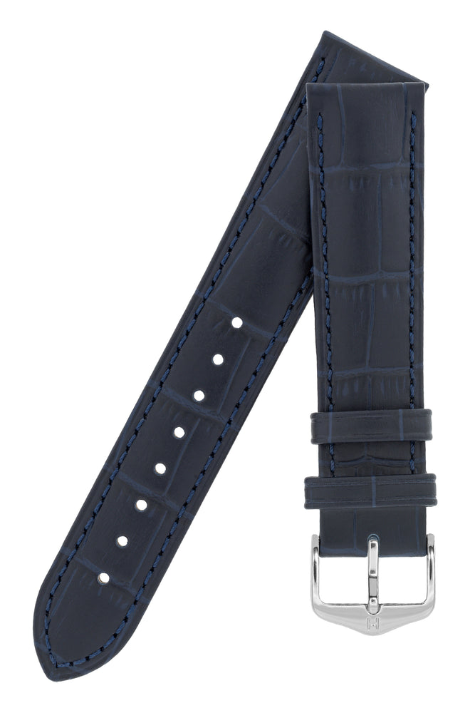 Hirsch Duke Alligator-Embossed Leather Watch Strap in Dark Blue