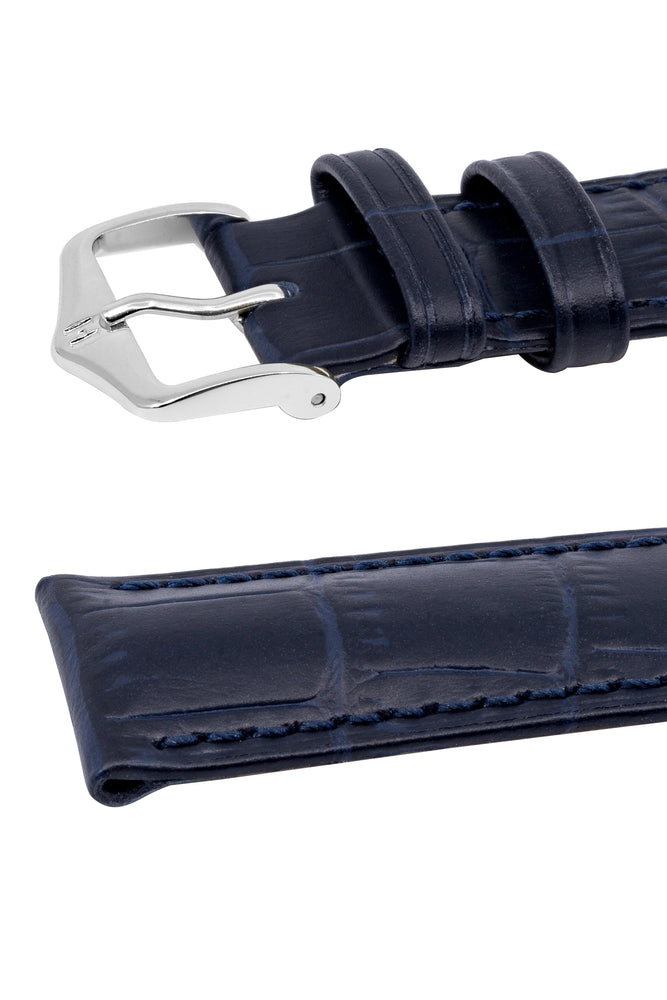 Hirsch Duke Alligator-Embossed Leather Watch Strap in Dark Blue (Keepers)