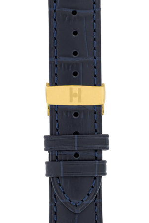 Hirsch Duke Alligator-Embossed Leather Watch Strap in Dark Blue (with Polished Gold Steel Sport Deployment Clasp)