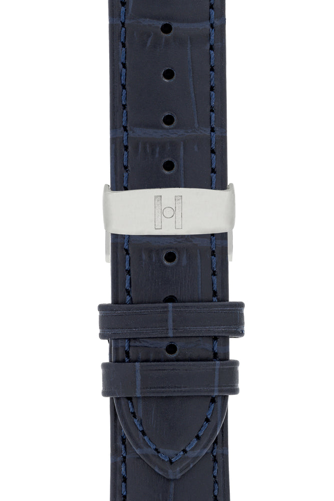 Hirsch Duke Alligator-Embossed Leather Watch Strap in Dark Blue (with Polished Silver Steel Sport Deployment Clasp)