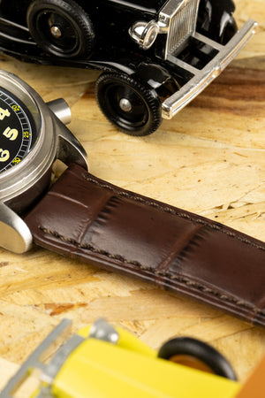 Hirsch DUKE Alligator Embossed Leather Watch Strap in BROWN