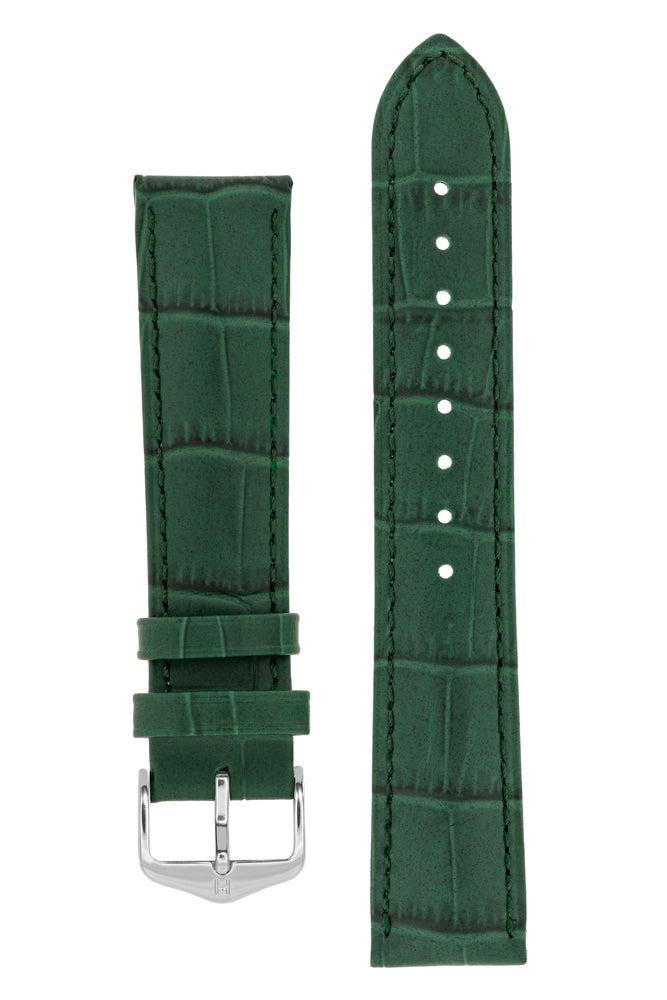 Hirsch DUKE Alligator Embossed Leather Watch Strap in GREEN