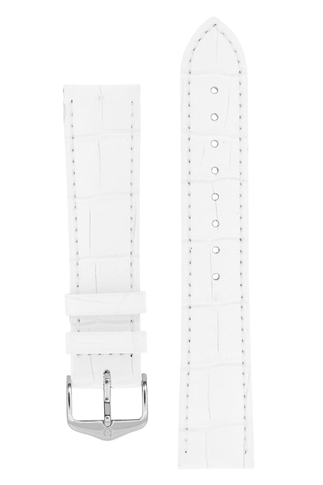 Hirsch DUKE Alligator Embossed Leather Watch Strap in WHITE