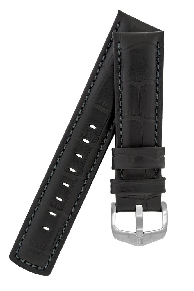 Hirsch Grand Duke Water-Resistant Alligator-Embossed Sport Watch Strap in Black with Black Stitch