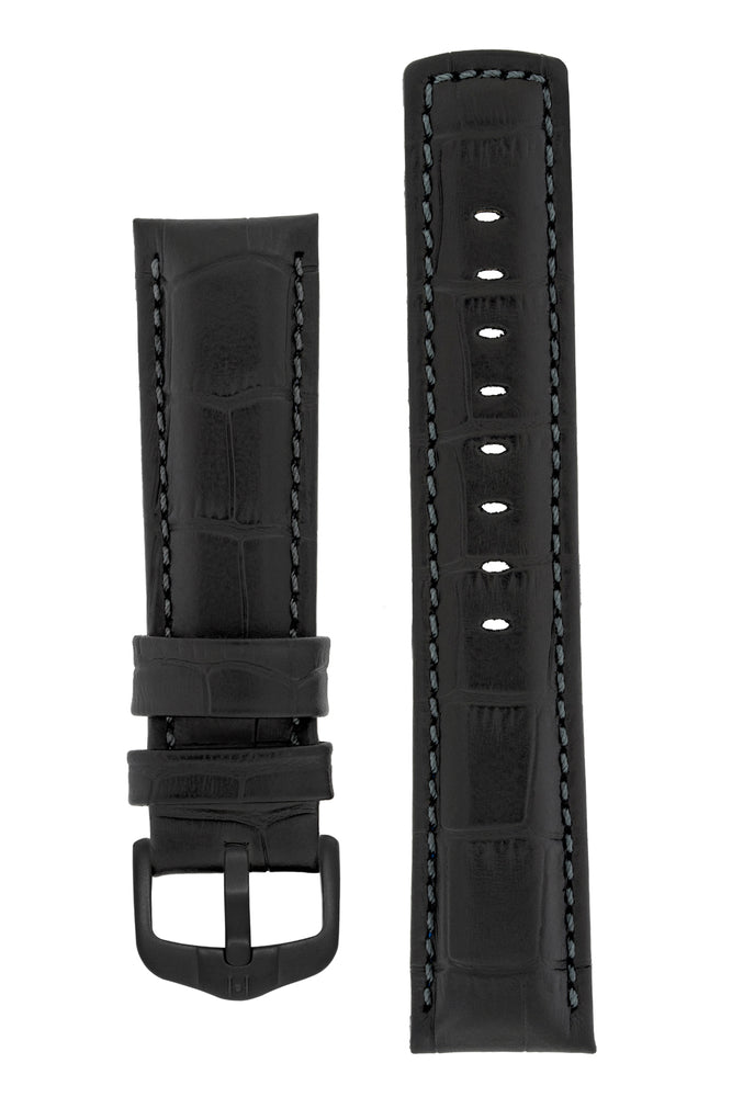 Load image into Gallery viewer, Hirsch Grand Duke Water-Resistant Alligator-Embossed Sport Watch Strap in Black with Black Stitch (with Black PVD-Coated Steel H-Active Buckle)