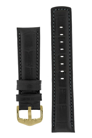 Hirsch Grand Duke Water-Resistant Alligator-Embossed Sport Watch Strap in Black with Black Stitch (with Polished Gold Steel H-Active Buckle)