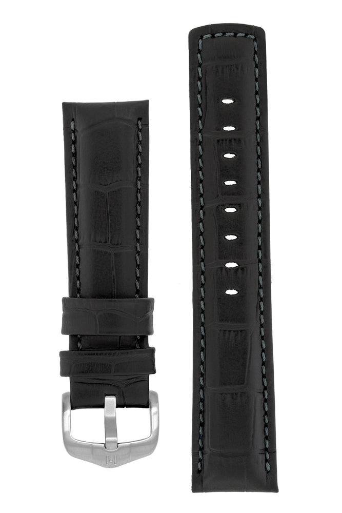 Hirsch Grand Duke Water-Resistant Alligator-Embossed Sport Watch Strap in Black with Black Stitch (with Brushed Silver Steel H-Active Buckle)