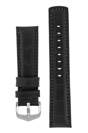 Load image into Gallery viewer, Hirsch Grand Duke Water-Resistant Alligator-Embossed Sport Watch Strap in Black with Black Stitch (with Brushed Silver Steel H-Active Buckle)