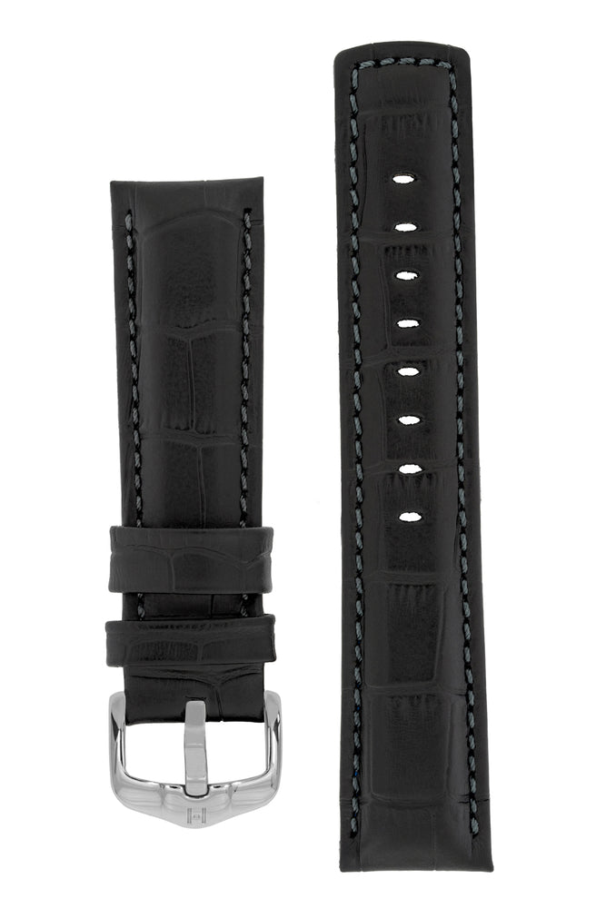 Load image into Gallery viewer, Hirsch Grand Duke Water-Resistant Alligator-Embossed Sport Watch Strap in Black with Black Stitch (with Polished Silver Steel H-Active Buckle)