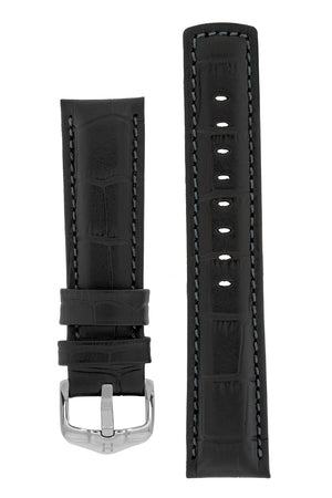 Hirsch Grand Duke Water-Resistant Alligator-Embossed Sport Watch Strap in Black with Black Stitch (with Polished Silver Steel H-Active Buckle)