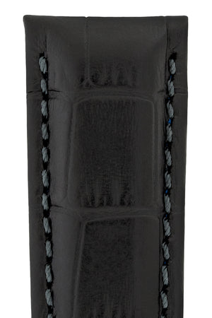 Hirsch Grand Duke Water-Resistant Alligator-Embossed Sport Watch Strap in Black with Black Stitch (Texture Detail)