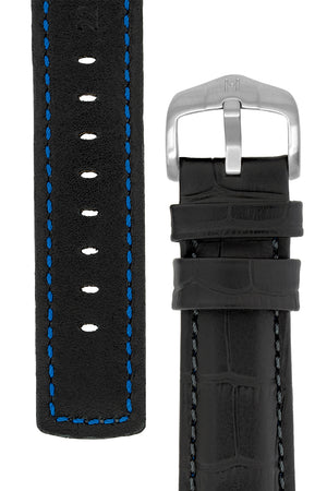 Hirsch Grand Duke Water-Resistant Alligator-Embossed Sport Watch Strap in Black with Black Stitch (Reverse/Tapers)