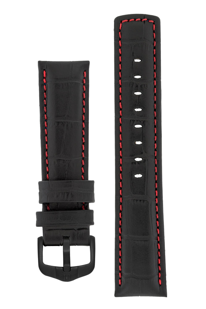 Hirsch Grand Duke Water-Resistant Alligator-Embossed Sport Watch Strap in Black with Red Stitch (with Black PVD-Coated Steel H-Active Buckle)