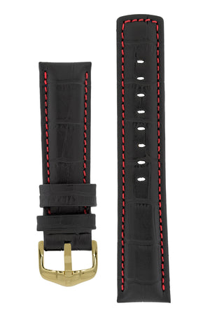 Hirsch Grand Duke Water-Resistant Alligator-Embossed Sport Watch Strap in Black with Red Stitch (with Polished Gold Steel H-Active Buckle)