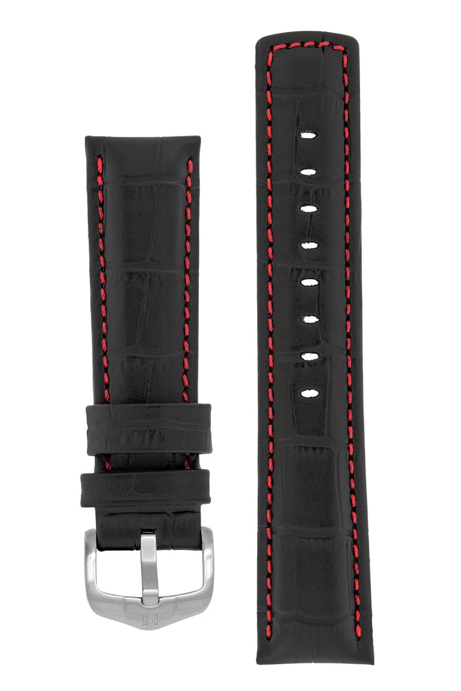 Hirsch Grand Duke Water-Resistant Alligator-Embossed Sport Watch Strap in Black with Red Stitch (with Brushed Silver Steel H-Active Buckle)