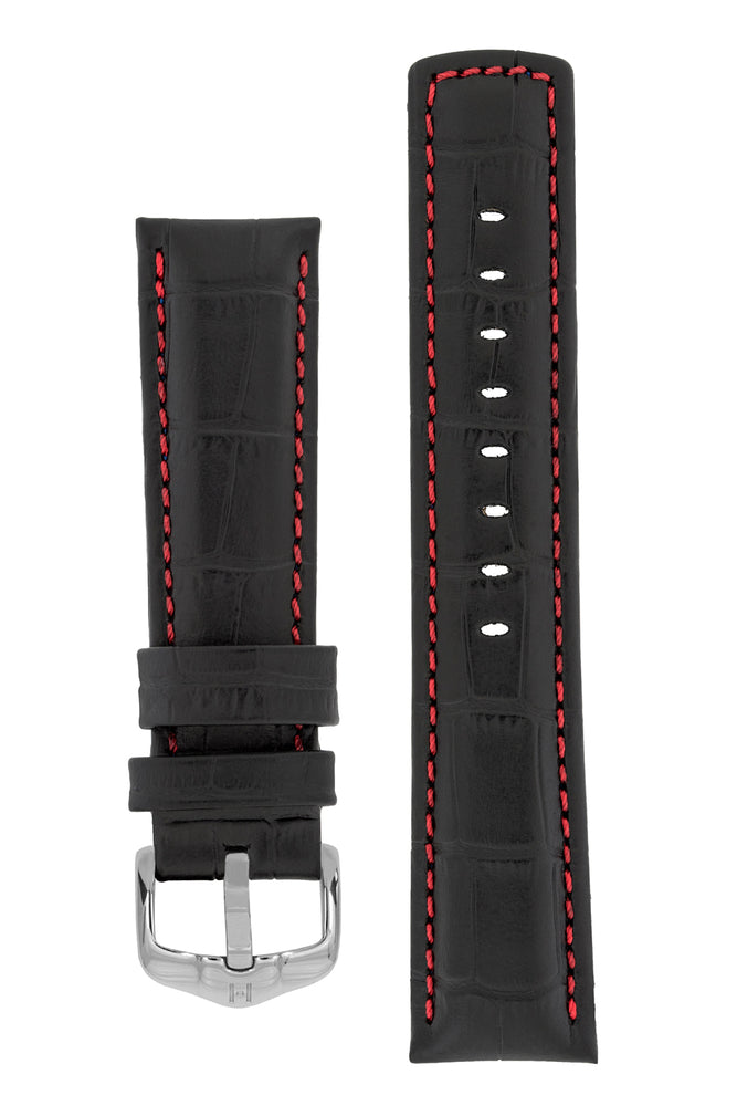 Hirsch Grand Duke Water-Resistant Alligator-Embossed Sport Watch Strap in Black with Red Stitch (with Polished Silver Steel H-Active Buckle)